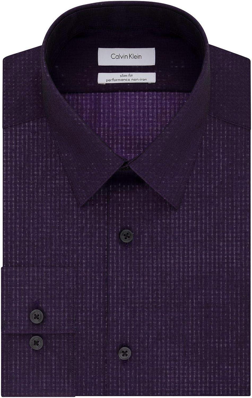 Mens 17.5 32//33 Regular Fit Lavander Textured Spread Collar Cotton Blend Dres...