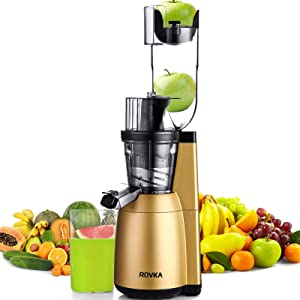Slow Masticating Juicer, ROVKA 3.15 Inches Wide Chute Cold Press Juicer, High Nutrient and Vitamins Juice Extractor for Fruit, Golden
