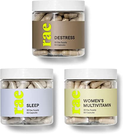 Rae Mood Boost Set - DeStress for Stress Relief, Sleep Supplement for Relaxation, Multivitamin for Women, Vegan, Non GMO and Gluten Free (3 Pack)