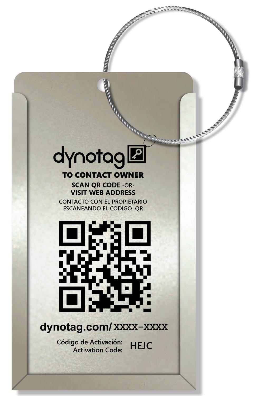 Dynotag® Web/GPS Enabled QR Smart Aluminum Convertible Luggage Tag w. Steel Loop Idkitalum