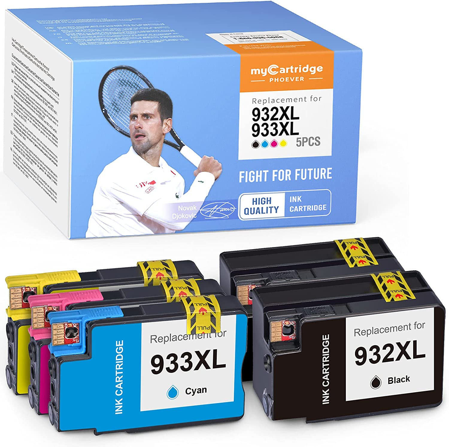 myCartridge PHOEVER Compatible Ink Cartridge Replacement for HP 932XL 933XL 932 XL 933 XL for Officejet 6700 6600 7612 7610 7110 6100 (2 Black, 1 Cyan, 1 Magenta, 1 Yellow, 5-Pack)