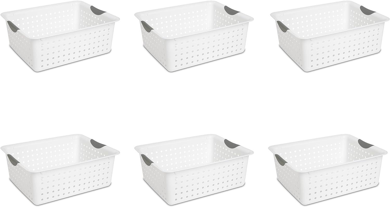 Sterilite 16268006 Large Ultra Basket, White Basket w/ Titanium Inserts, 6-Pack