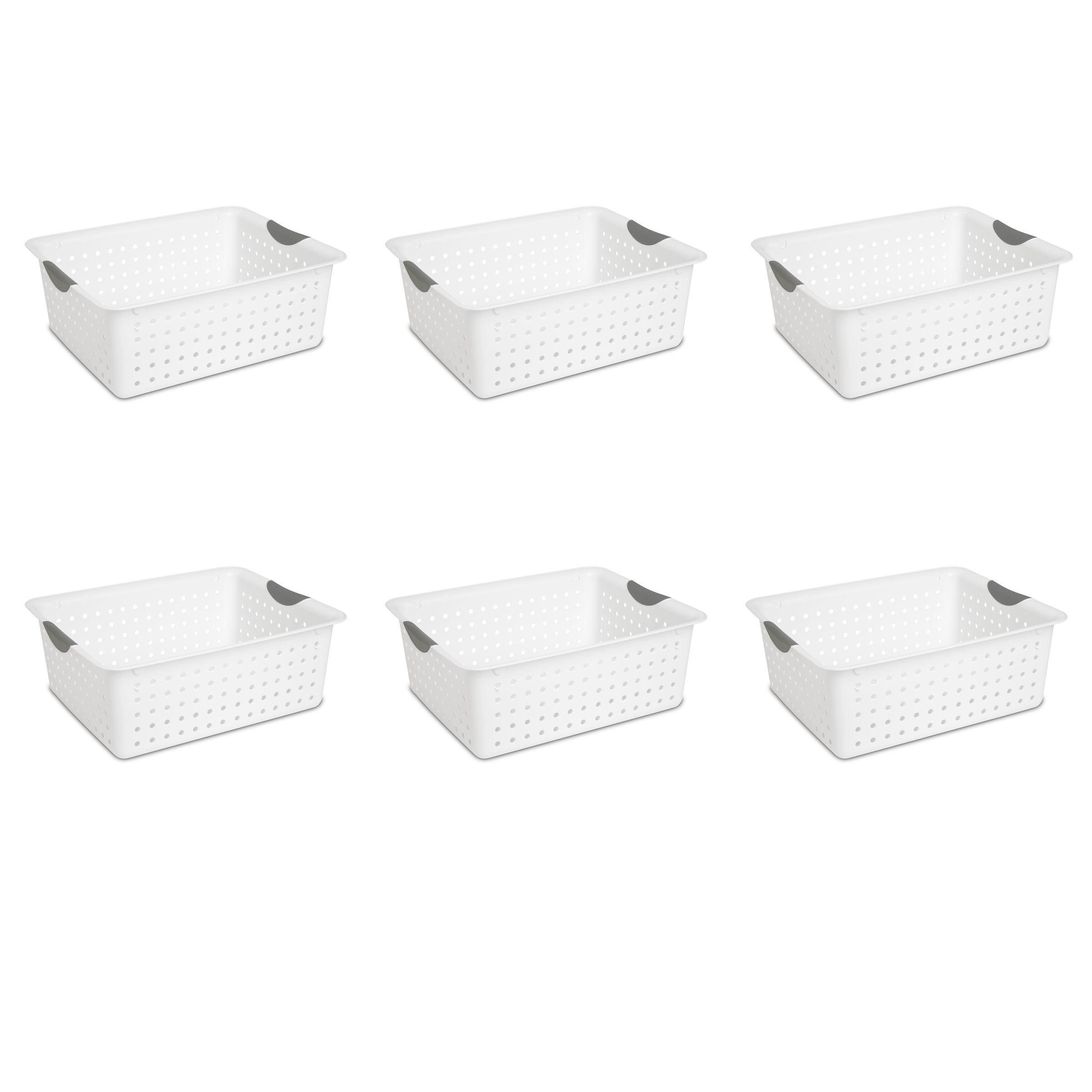 Sterilite 16268006 Large Ultra Basket, White Basket w/ Titanium Inserts, 6-Pack by STERILITE