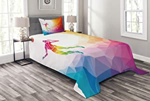 Lunarable Volleyball Bedspread, Colorful Polygonal Background Triangles with Jumping Woman Striking The Ball, Decorative Quilted 2 Piece Coverlet Set with Pillow Sham, Twin Size, Purple Blue