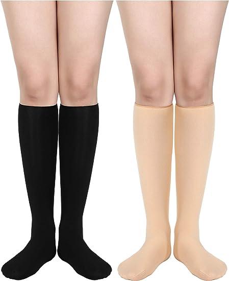 4 pairs 26 Inch Long Tube Crew knee high boots Socks Solid Black MEN/'S WOMEN/'S