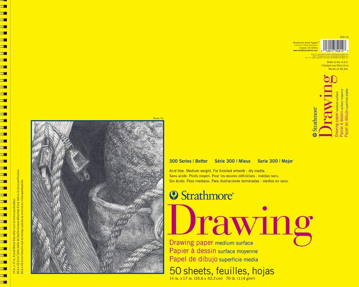 """Strathmore 300 Series Drawing Pad, Medium Surface, 11""""x14"""", Wire Bound, 50 Sheets: Office Products"""