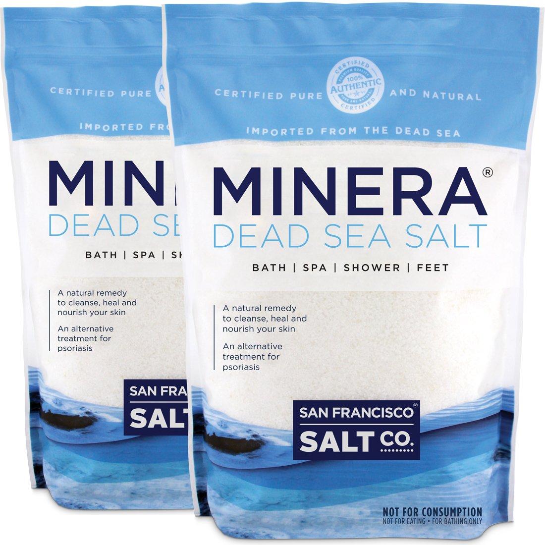 Minera Fine Grain Pure Dead Sea Salt, 10 lb (2 Pack - Each of 5 lb Bag) San Francisco Salt Company