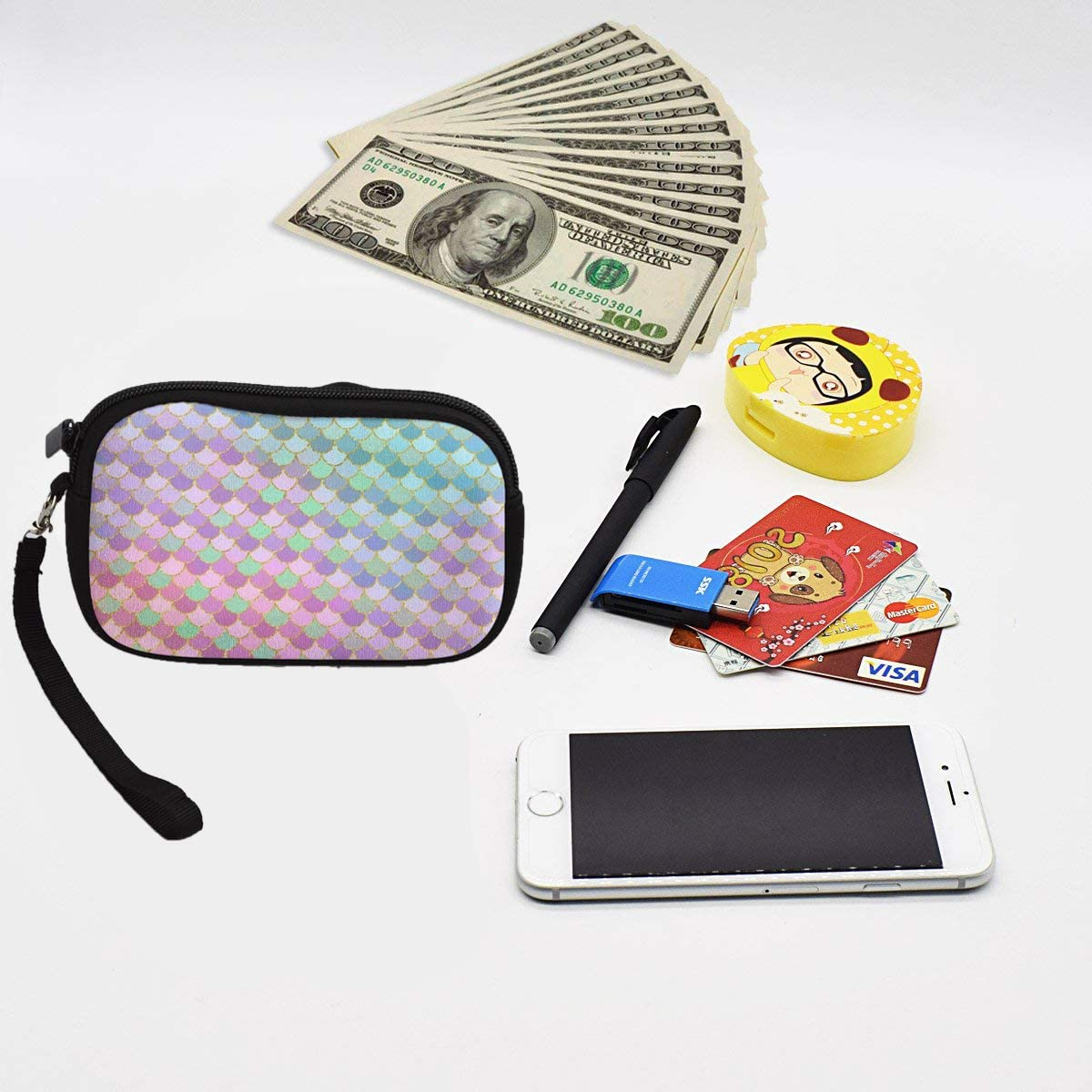 Womens Waterproof Zipper Wristlet Coin Change Cash Money Wallets Soft and Durable Fashion Phone Camera Holder Purse Cool Tie Dye Weed Unique Design Keys//Bank Credit Card//Pencil Clutch
