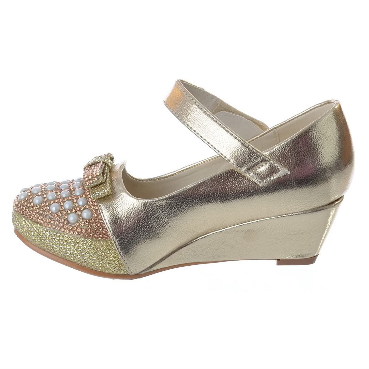 GIRLS KIDS LOW WEDGE HEEL DIAMANTE PARTY WEDDING MARY JANE SANDALS SHOES  SIZE: Amazon.co.uk: Shoes & Bags