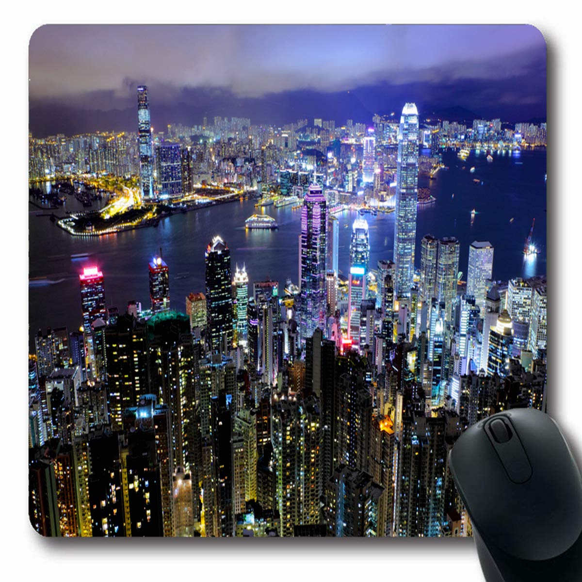 Tobesonne マウスパッド トールスカイライン 香港の夜 経済的 香港市デザイン ダウンタウン 長方形 7.9 x 9.5インチ 滑り止め ゲーム用マウスパッド ゴム 長方形マット 7.9