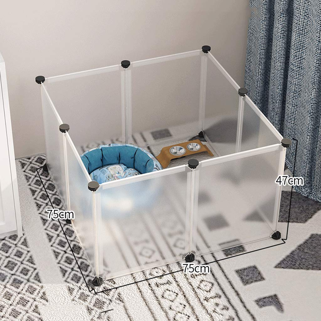 75x75x47cm AAGWCWWWL Dog Playpen, Portable Fence Small Animals, Popup Kennel Crate Fence Tent, Transparent White