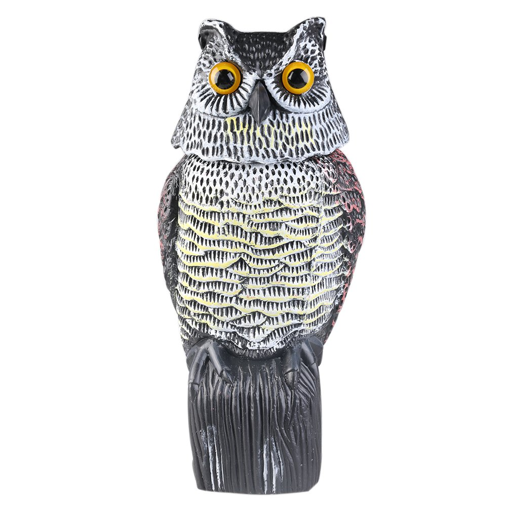 Rotating Head Owl Highly Realistic Scarecrow Farm / Garden Defense Control Pest Against Mice, Rat, Pigeon Repellents Owl Decoy JYWH