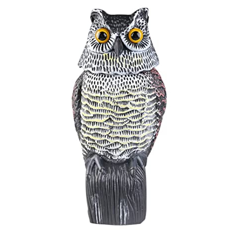 Asenart Scarecrow Fake Owl Decoy, Large Realistic Owl Decoy With Rotating  Head Garden Owl Animal