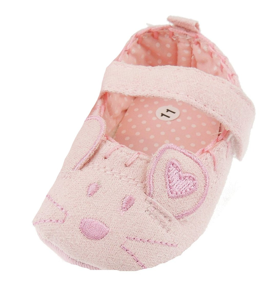 Glamour Girlz Baby Girls Cotton First Walker Pink Mouse Pram Shoes Slippers Nylon Straps 0-3 Months 11