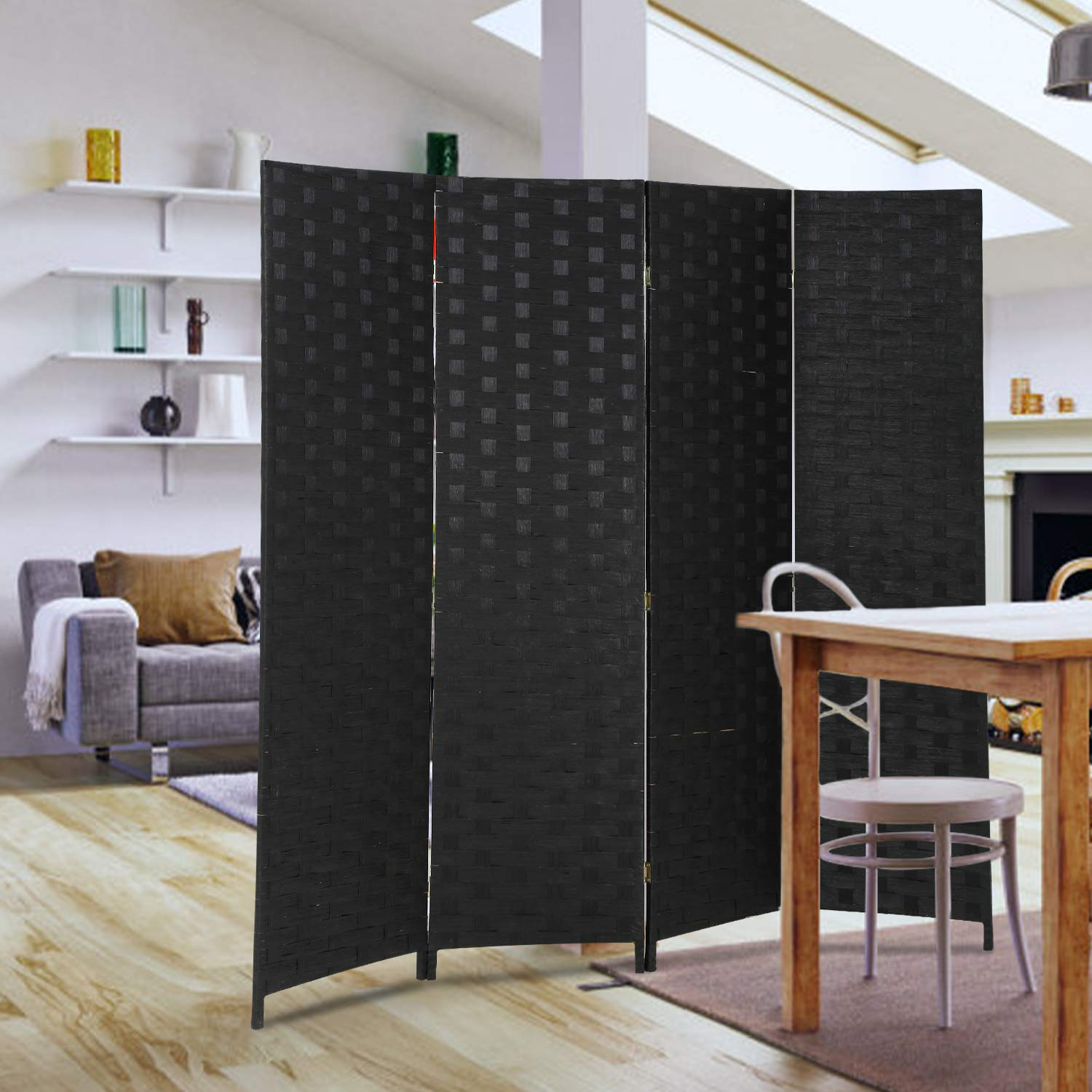 Swell Room Divider Wood Screen 4 Panel Wood Mesh Woven Design Room Screen Divider Folding Portable Partition Screen Screen Wood For Home Office Beutiful Home Inspiration Xortanetmahrainfo