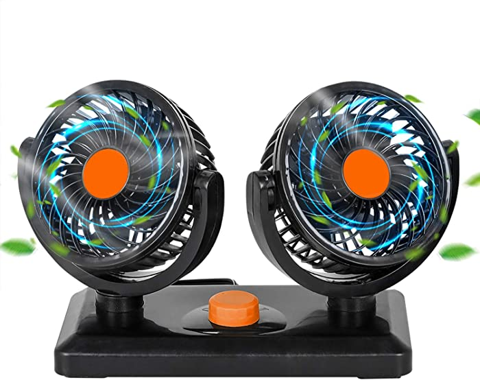 Zmoon 24V Car Cooling Fan,360 Degrees Car Fan with Weak Wind & Strong Wind for SUV, RV, Cars