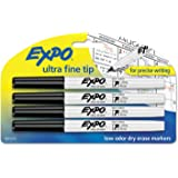 EXPO Low-Odor Dry-Erase Marker, Ultra Fine Point, Black, 4/Pack