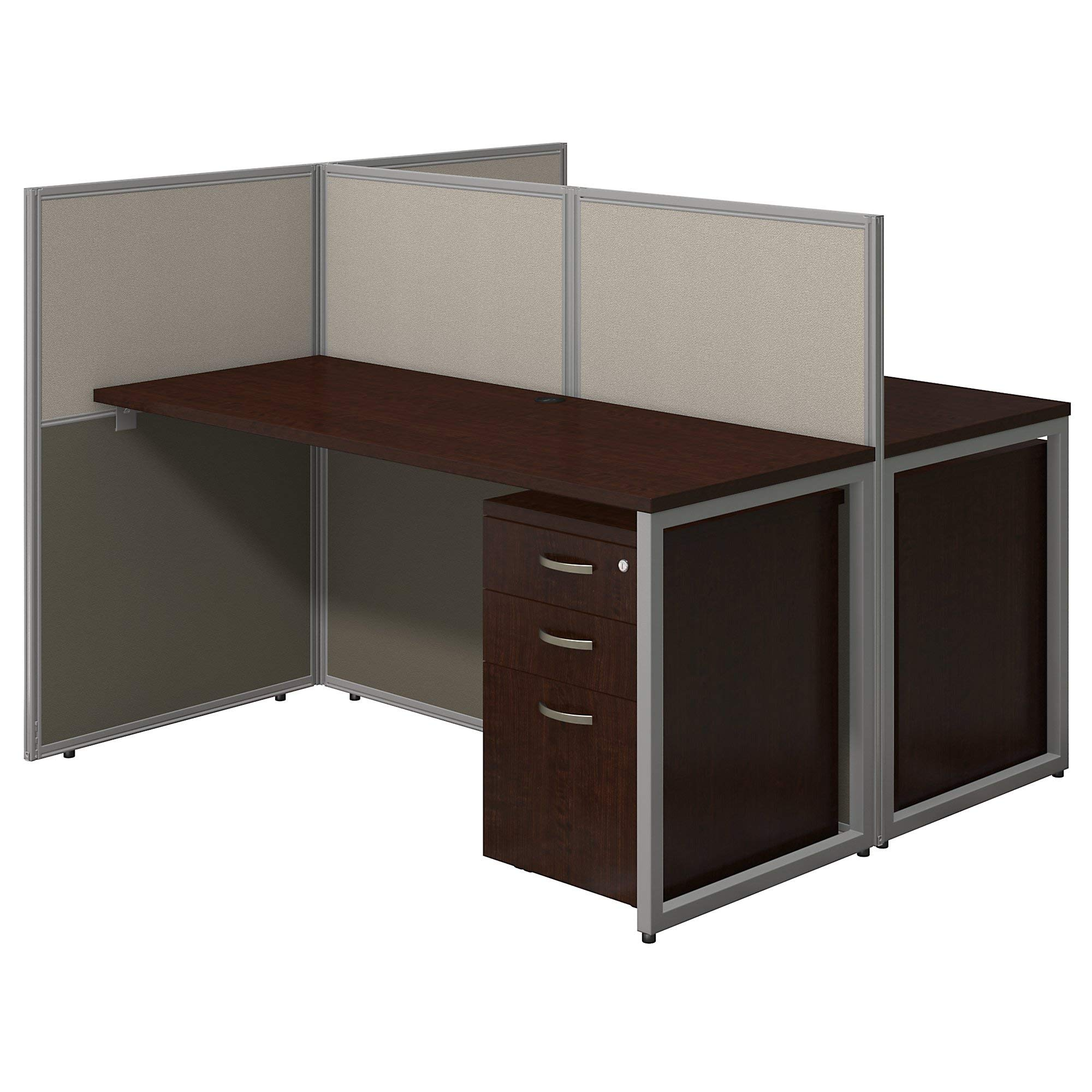 Bush Business Furniture Easy Office 60W Two Person Straight Desk Open Office with Mobile File Cabinets in Mocha Cherry by Bush Business Furniture
