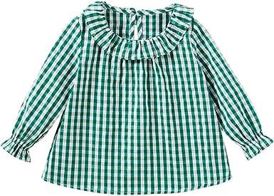Camiseta de algodón con Mangas largas para niñas, Cuadros, Camisetas de Cuadros, Blusas, Ropa (3 Años, Verde): Amazon.es: Ropa y accesorios
