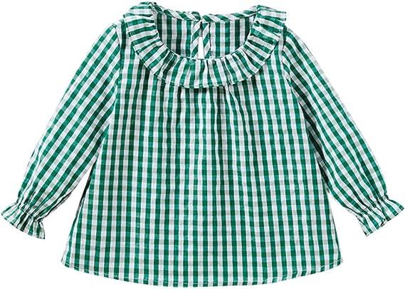 Camiseta de algodón con Mangas largas para niñas, Cuadros ...