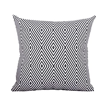 Amazon.com: Cojín geométrico negro y blanco para sofá ...