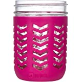 JarJackets Silicone Mason Jar Protector Sleeve - Fits Ball, Kerr 16oz (1 pint) Wide-Mouth Jars | Package of 1 (Sangria)