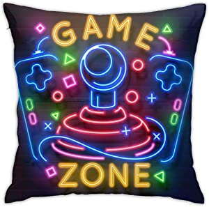 Antvinoler Retro Game Neon Sign Video Games Night Light Pillows Case Soft Throw Pillow Double-Sided Digital Printing Couch Pillowcase Square 45cm45cm