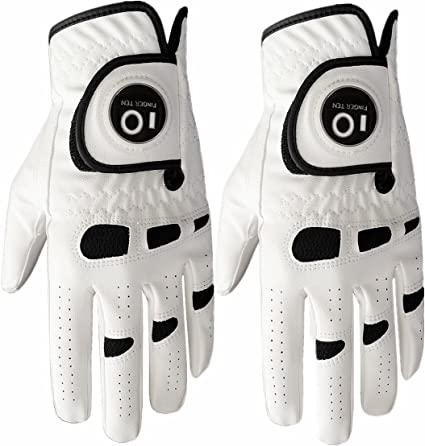 FINGER TEN Men's Golf Glove Left Hand Right with Ball Marker Value 2 Pack, Weathersof Grip Soft Comfortable, Fit Size Small Medium ML Large XL best golf gloves