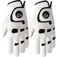 Men's Golf Glove Left Hand Right with Ball Marker Value 2 Pack, Weathersof Grip Soft Comfortable, Fit Size Small Medium ML Large XL