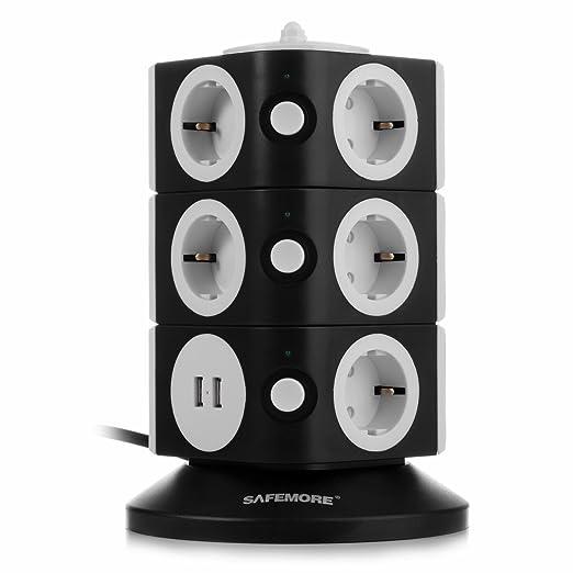 52 opinioni per SAFEMORE- Multipresa Salvaspazio con 11 Prese Schuko (a 2 vie) e 2 Porte USB