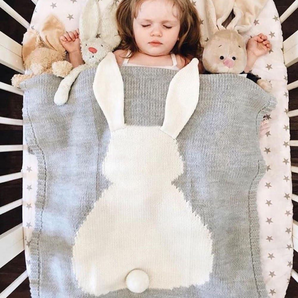 Fyore 3d conejo bebé manta Ultra suave orgánico comodidad de dormir patrón para tejer cálido hoja para niños recién nacido, Blue Grey, 108*73cm