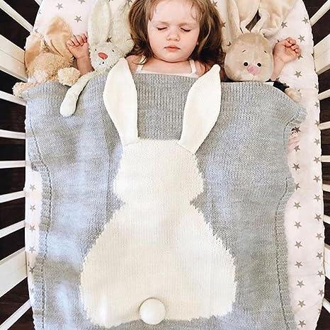 Fyore 3d conejo bebé manta Ultra suave orgánico comodidad de dormir patrón para tejer cálido hoja