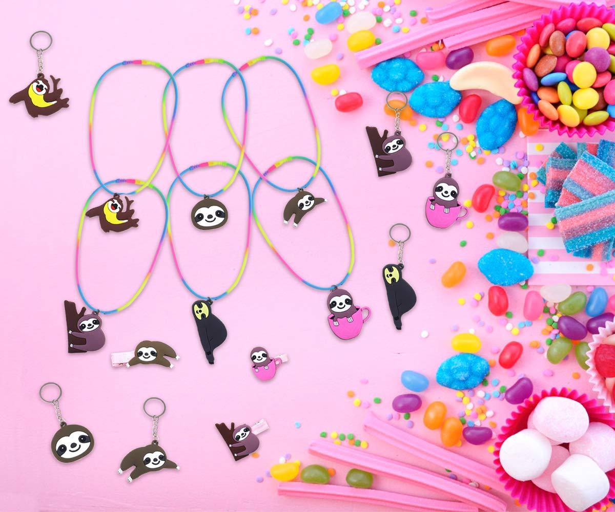 Kreatwow Sloth Party Favors Sloth F/ête danniversaire Cadeaux Kit pour Enfants Tatouages Paresseux Cha/înes Cl/és Clips De Cheveux Collier pour Fournitures De Douche De B/éb/é