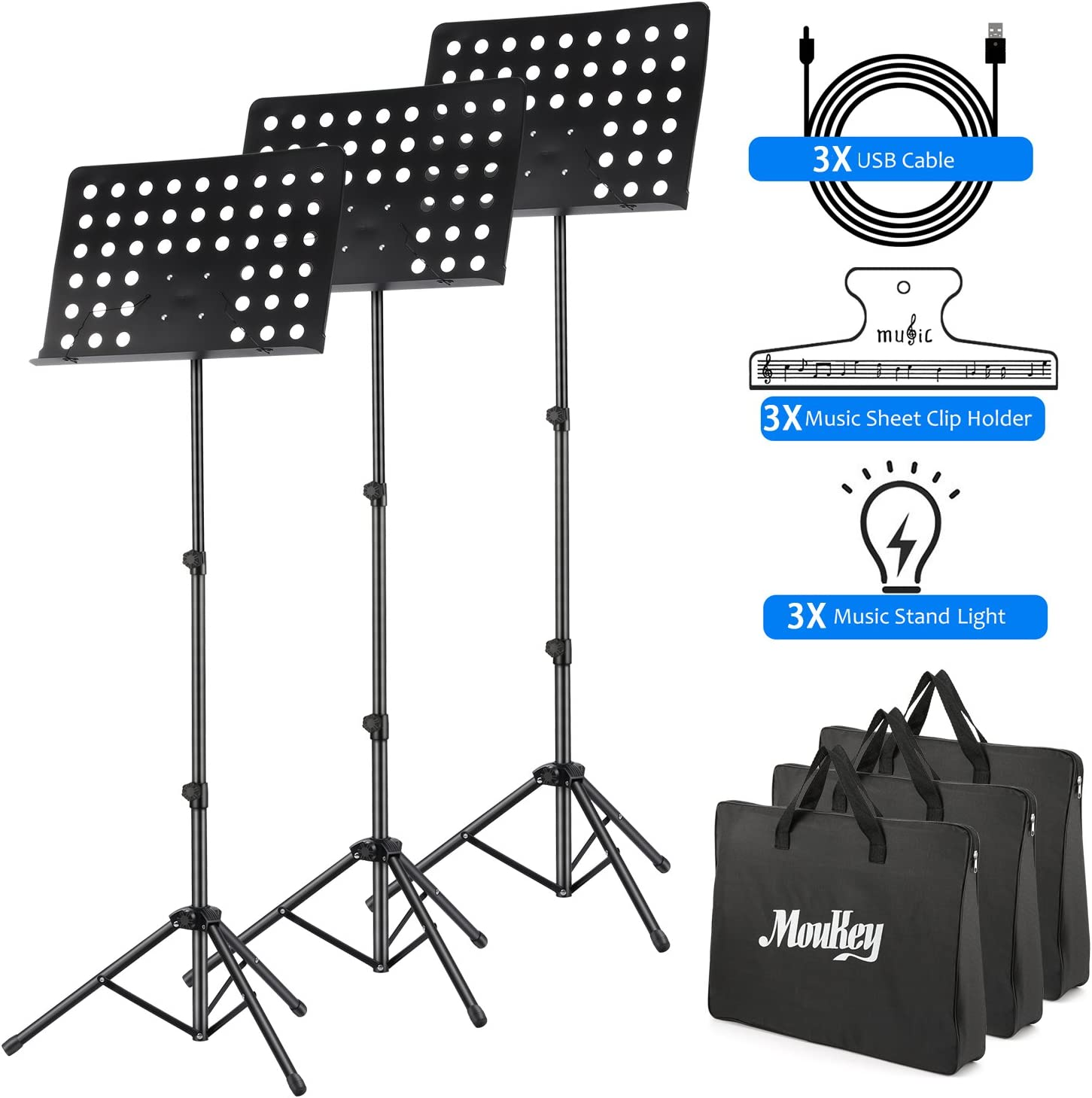 3-Pack Moukey Sheet Music Stand MMS-2 Metal Adjustable Portable Music Stand With Stand Light Carrying Bag Black