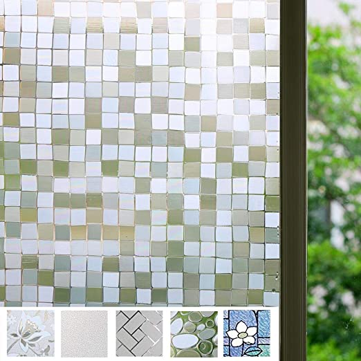 17.7 x 78.7 Bloss 3D Decorative Window Film Rainbow Effect Removable Door Window Decoration Static Cling Glass Film Waterproof Window Coveing