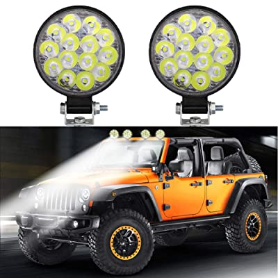 Led Work Light Bar DIBMS Super Bright Round 42W 14 LED Flood Spot Off Road Working Pods Lights Waterproof Driving Fog Lamps for Truck SUV Boat Jeep Tractor Marine RV AtV: Automotive
