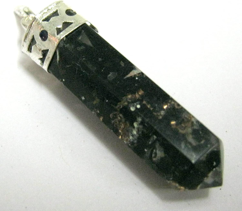 negro de turmalina Gemstone colgante de puntero de plata