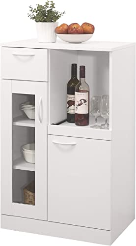 Kings Brand Furniture – Lewiston White Kitchen Storage Cabinet, 1 Drawer 2 Doors Shelves