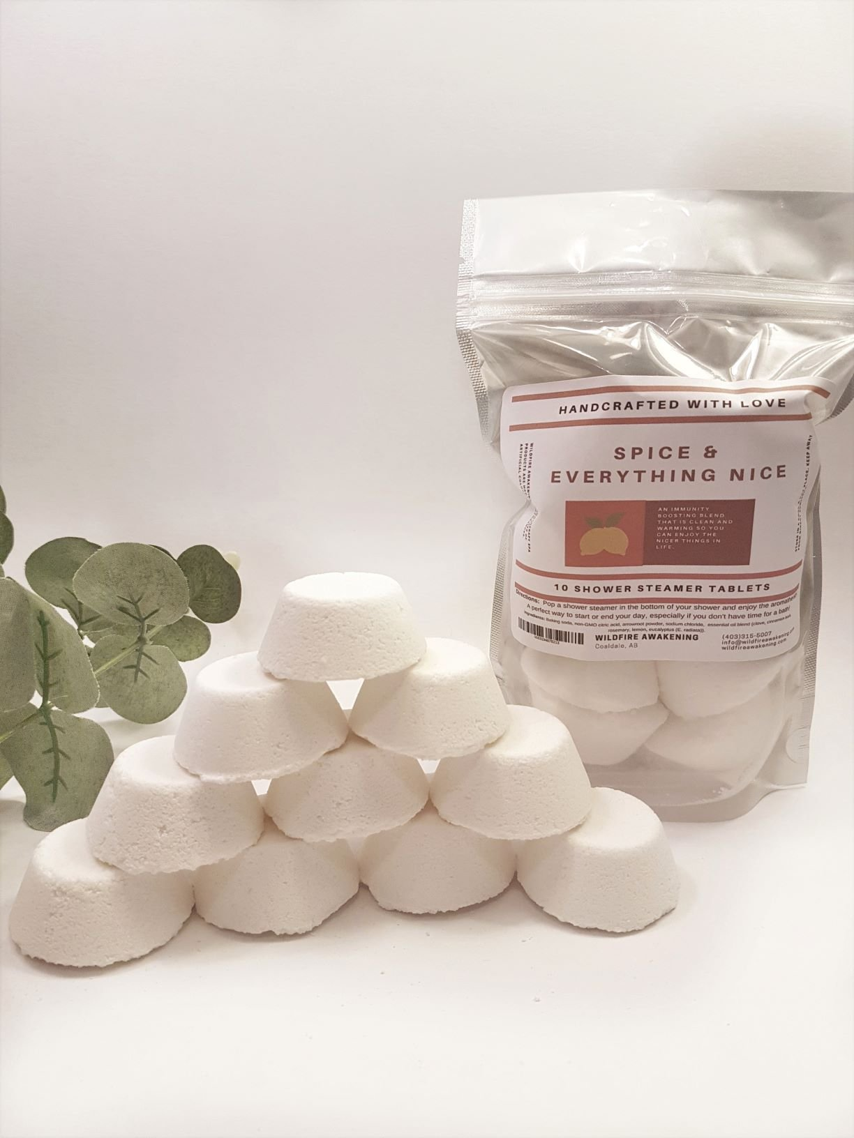 Spice Shower steamers with essential oils, 10 tablets, Wildfire Aromatics by Wildfire Aromatics