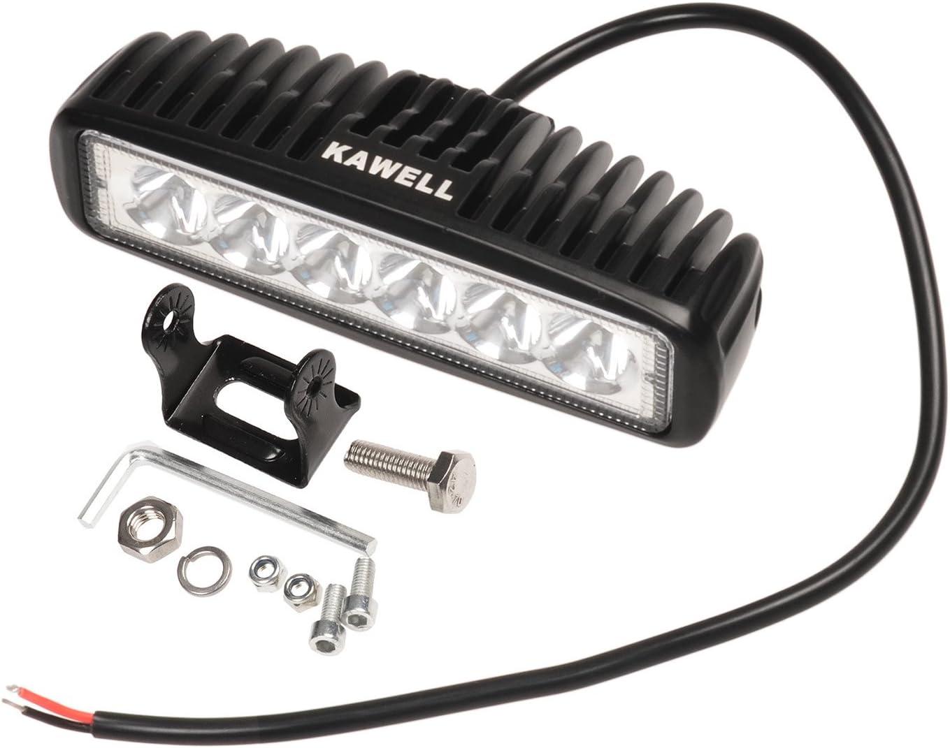 KAWELL Slim 18W LED Light Bar 6.2 DC 9-32V 6500K 1170LM 30 Degree for ATV Jeep boat suv truck car atvs light Off Road Waterproof Led Work Spot Light Bar Black Color 2 Pack Spot Black K5-5118