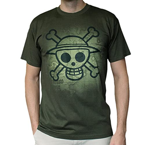 AbyStyle - T-Shirt ONE PIECE Skull with map Used Kaki Taille XL - 3760116318143
