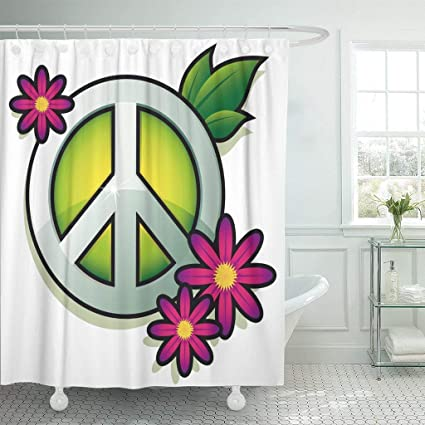 ee0e8060a684a Amazon.com: Wlioohhgs Green Hippy Peace Sign with Pink Flowers White ...