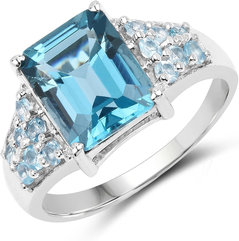 0.35 cttw Gem Stone King Round Swiss Blue Topaz Black Diamond 18K Rose Gold Plated Silver Pendant