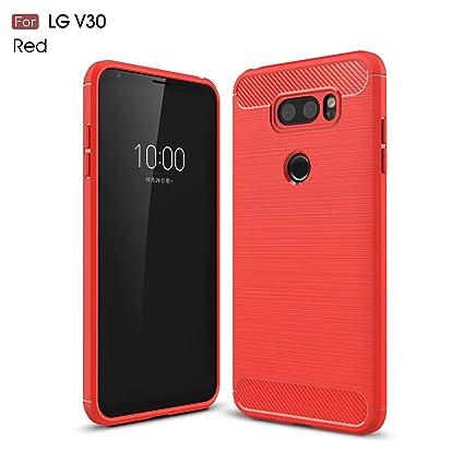 YFXP Funda LG V30 con Cristal Templado, LG V30 Carcasa Silicona Fibra de Carbono TPU Alta Resistente y Flexibilidad Fundas Cover Caso para LG V30 Rojo