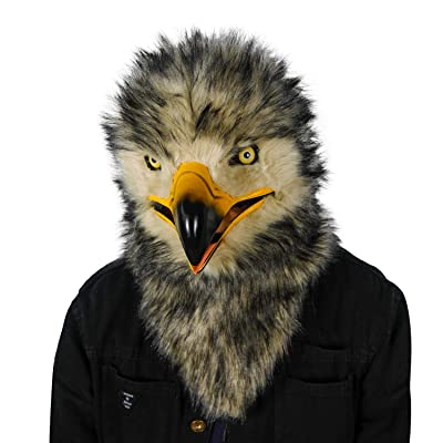 ifkoo Realistic Mouth Mover Eagle Mask Moving Mouth Fursuit Head Owl Mask (Eagle) Grey: Clothing