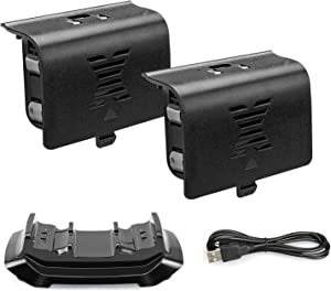 Xbox one Controller Charger with 2 Rechargeable Battery 800mAh Dual Charging Dock Station for Xbox One/One S/One X/Elite Controller