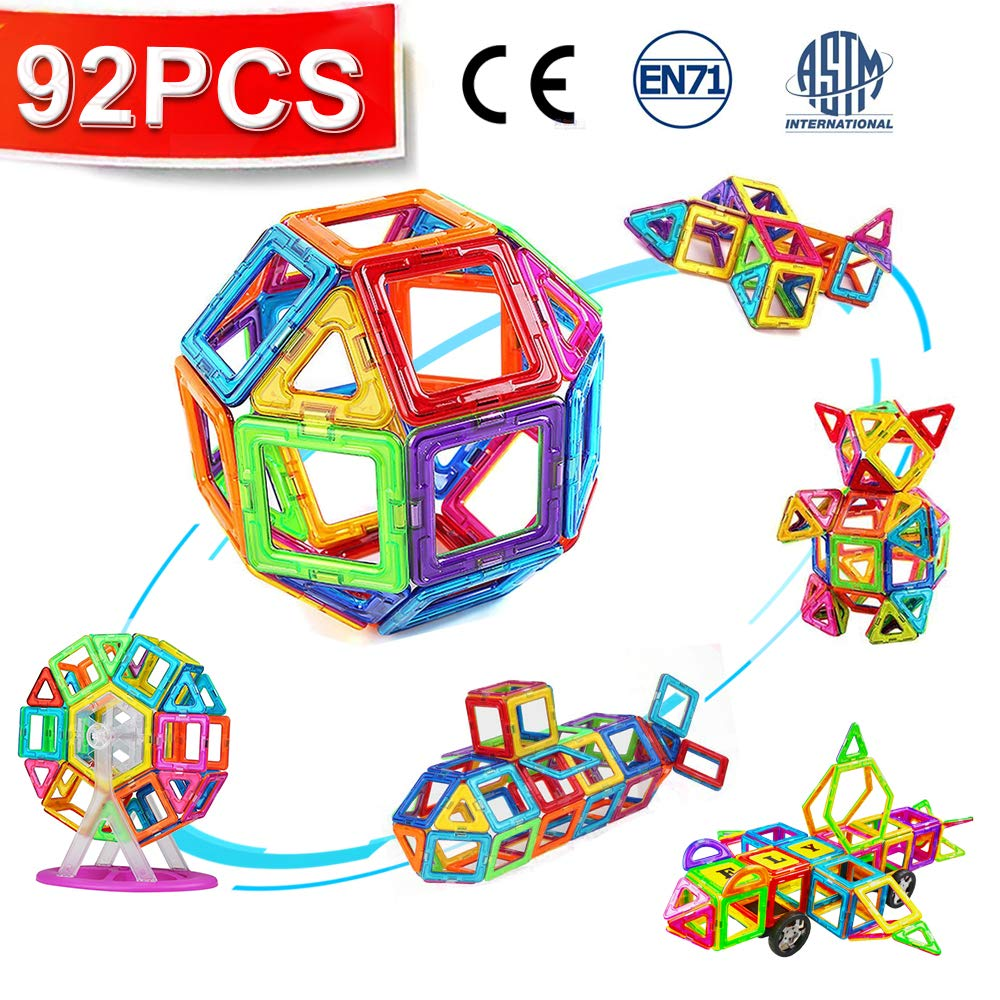 CRENOVA Magnetic Blocks 92pcs Magnetic Building Blocks Magnetic Construction Set Included Ferris Wheels Carrying Bag Booklet Toys for Kids