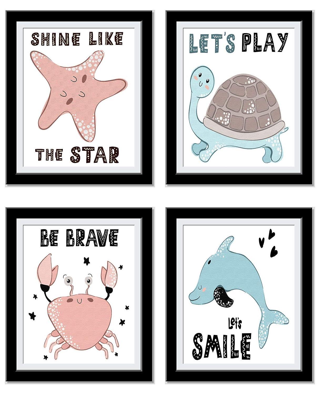 Ocean Decor Kids Motivational Wall Art - Turtle Decor Nursery Prints - Shine, Be Brave, Play, Smile - Star Fish, Turtle, Crab, Dolphin - Set of 4 8x10 UnFramed prints…