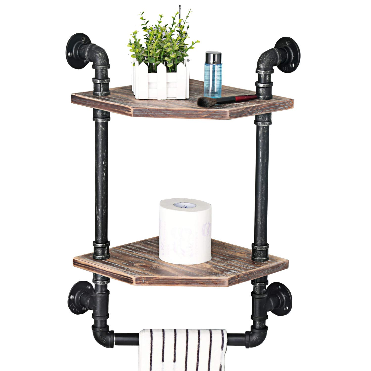 MBQQ Industrial Pipe Shelf,Rustic Corner Shelves with Towel Bar,Bathroom Shelves Wall Mounted,2 Tiered Metal&Real Wood Home Decor Floating Shelves