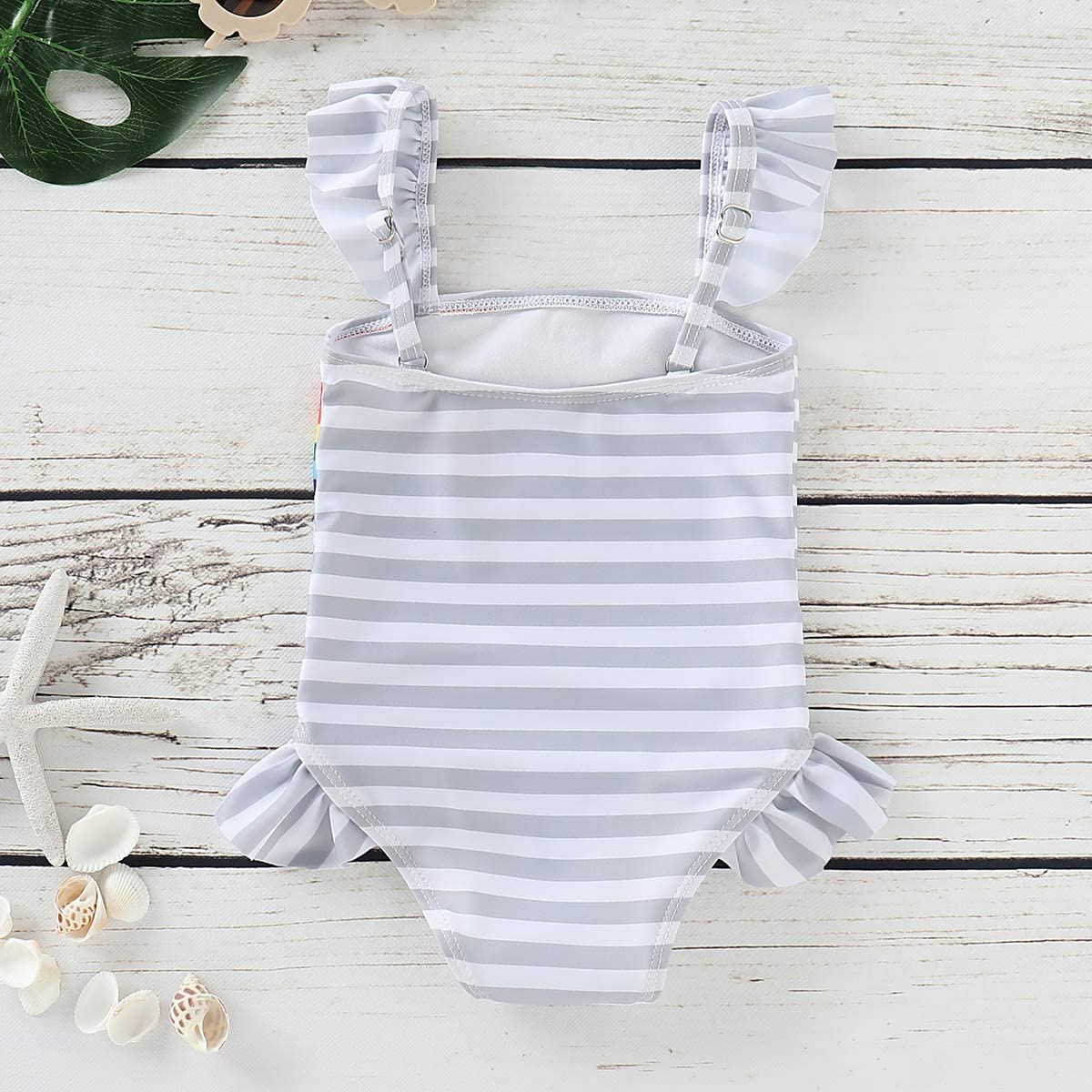 Baby Girls Twins Matching Outfits Twins Sister Ruffle Stripe Swimsuit Rainbow Print Bathing Suit